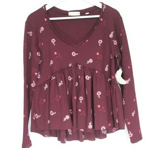 Altar'd State Babydoll Top Embroidered Shirt New